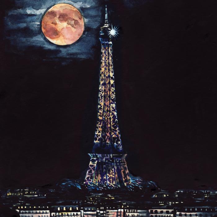 Midnight In Paris Eiffel Tower By Laura Row