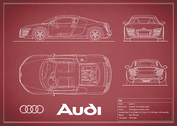 Audi r8 blueprint red by mark rogan audi r8 blueprint red malvernweather Image collections