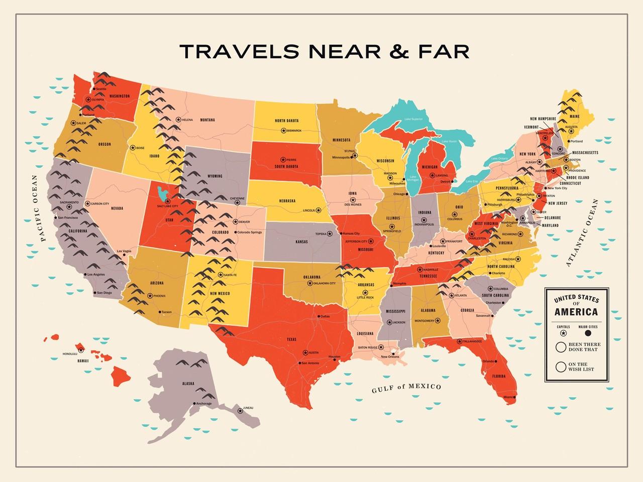 Travel Tracker Map from Level Frames