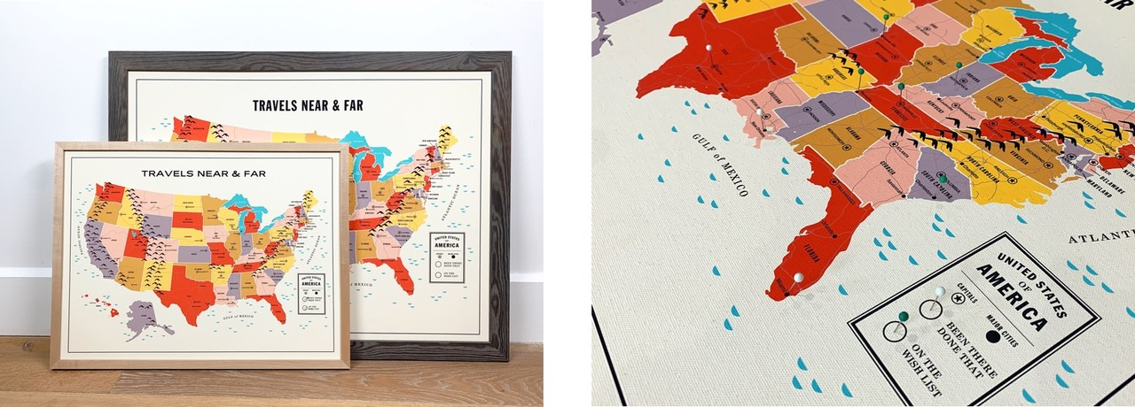 Framed Travel Map by Level Frames
