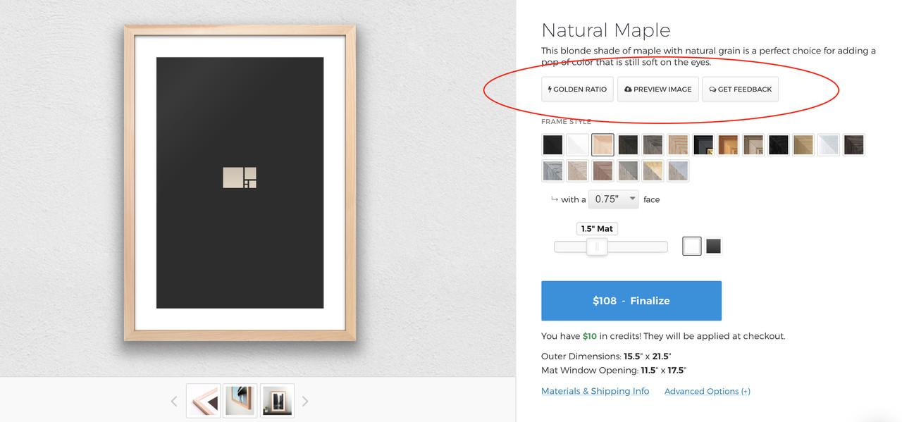 Online Custom Framing Preview - Maple Frame