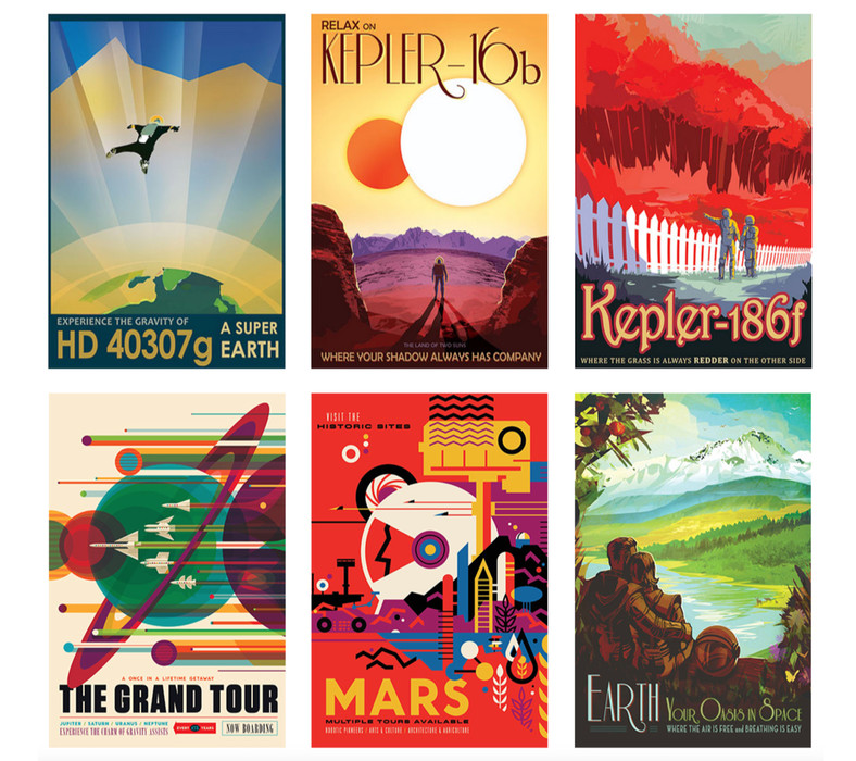 Print and Frame Visions of the Future NASA JPL Posters