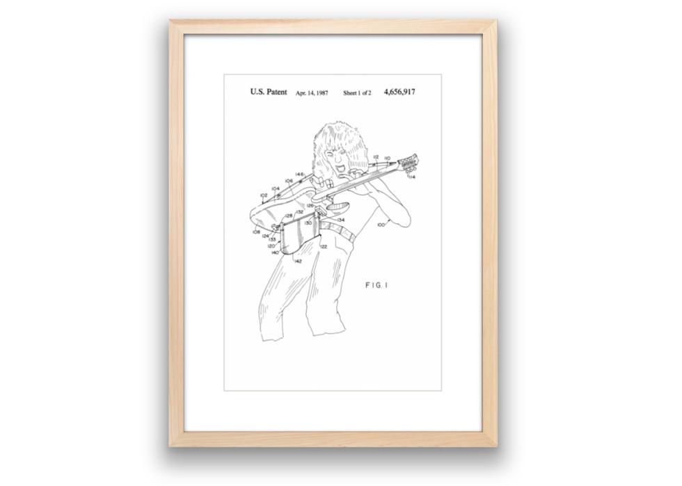Eddie Van Halen Guitar Patent Custom Framed
