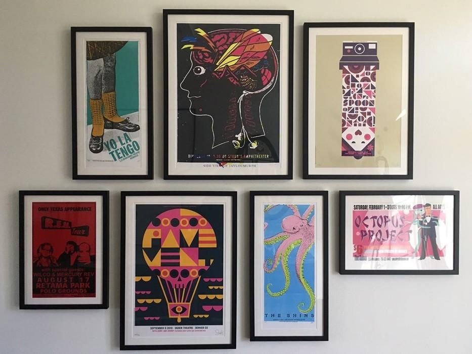 Custom framed art gallery wall