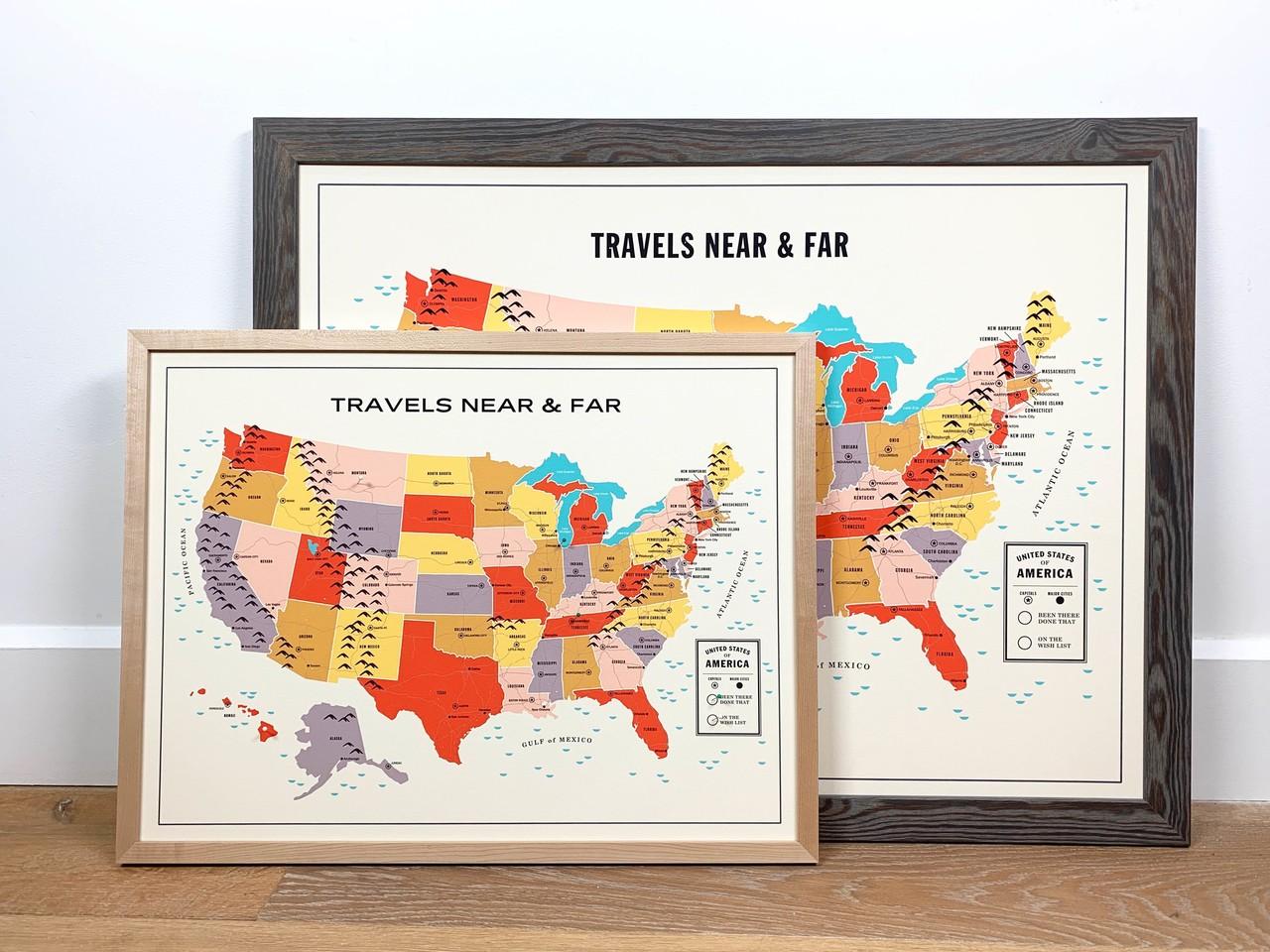 Travel Tracker custom framed map Level Frames