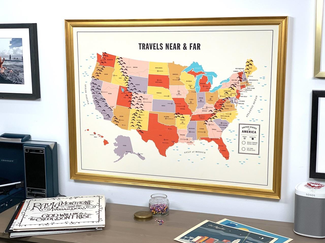 Framed Travel Tracker Map from Level Frames