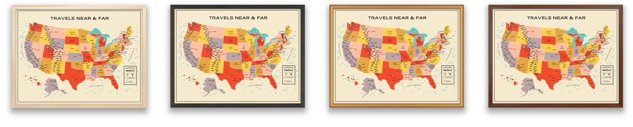 Online Custom Framing Travel Tracker Map