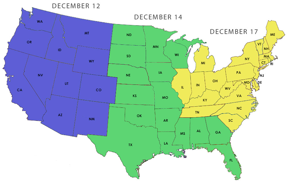 Shipping deadlines map