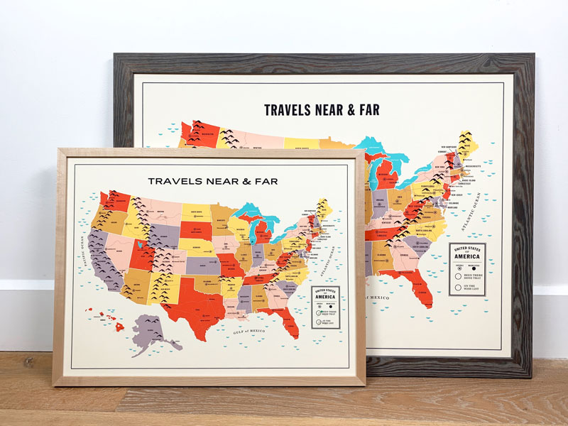 travel tracker map. Framed print by Level Frames