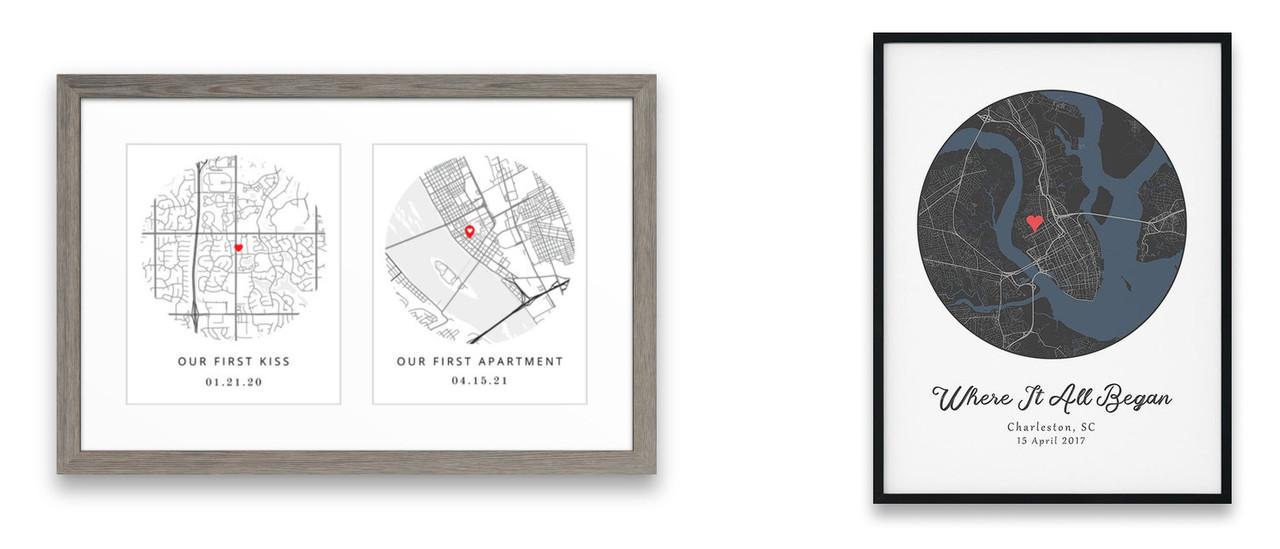 Custom framed personalized anniversary maps