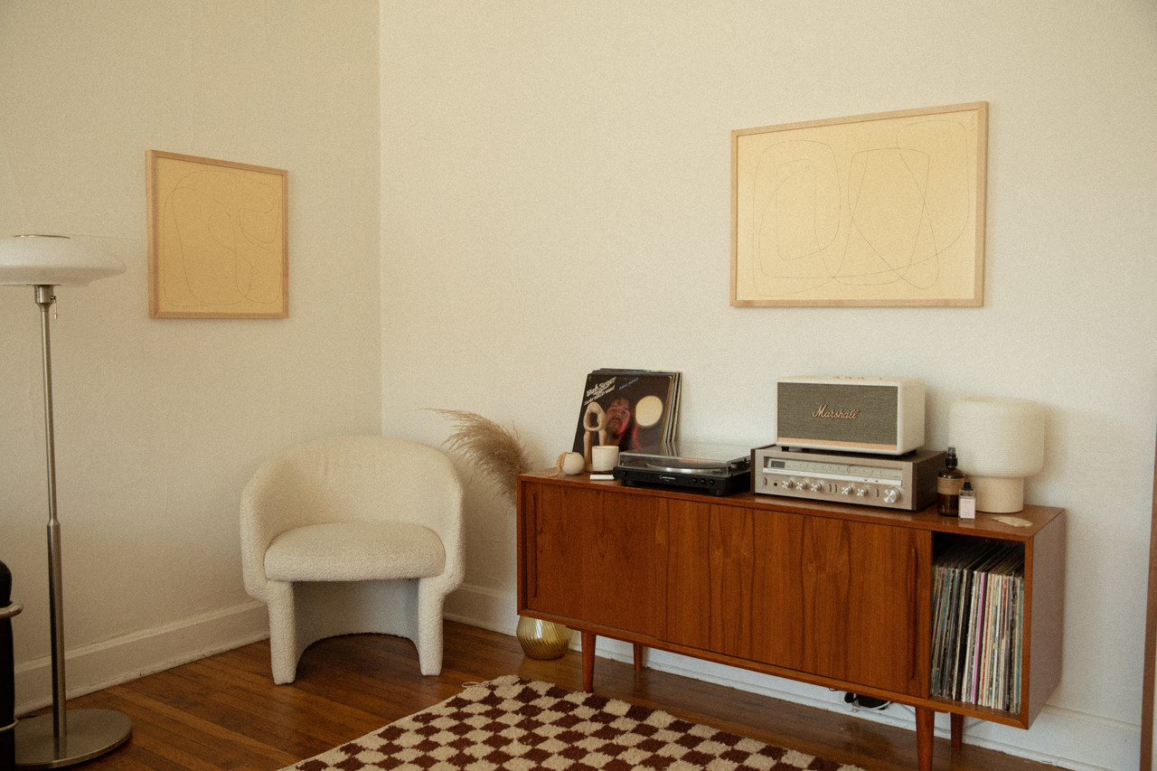 Custom frames living room console table
