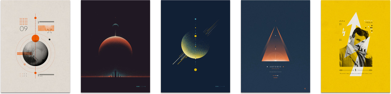 Space and science inspired prints by 2046, available custom framed
