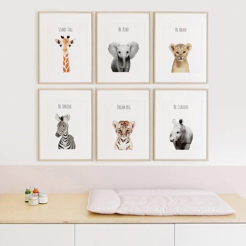 Grid pattern framed kids artwork for nursery