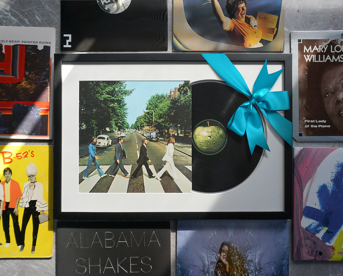 Abbey Road by the Beatles vinyl custom framed