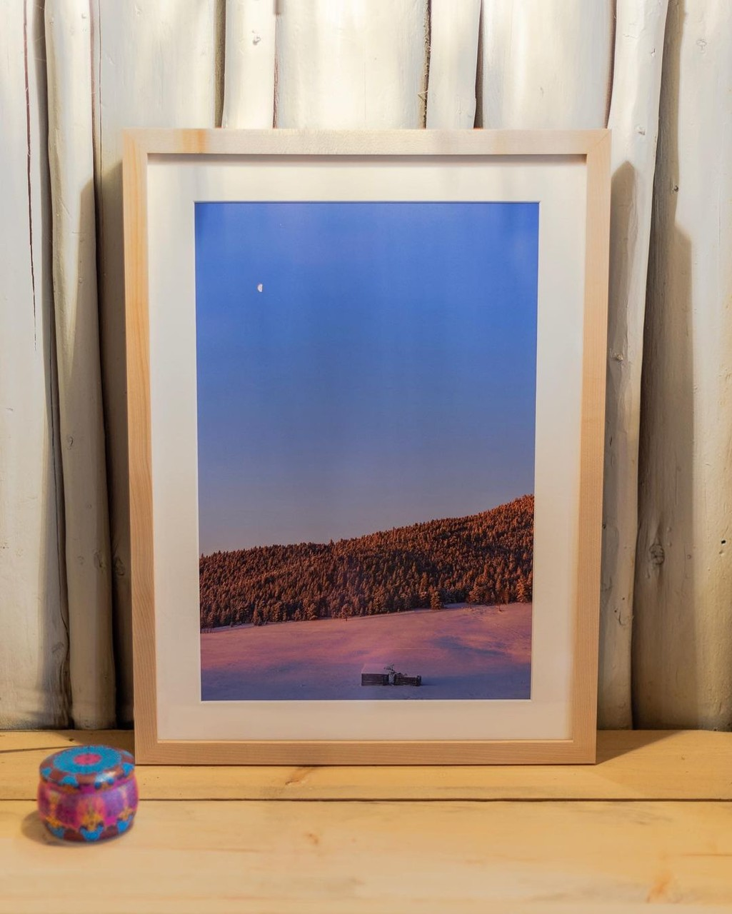 Custom framing a photo in a maple frame with mat