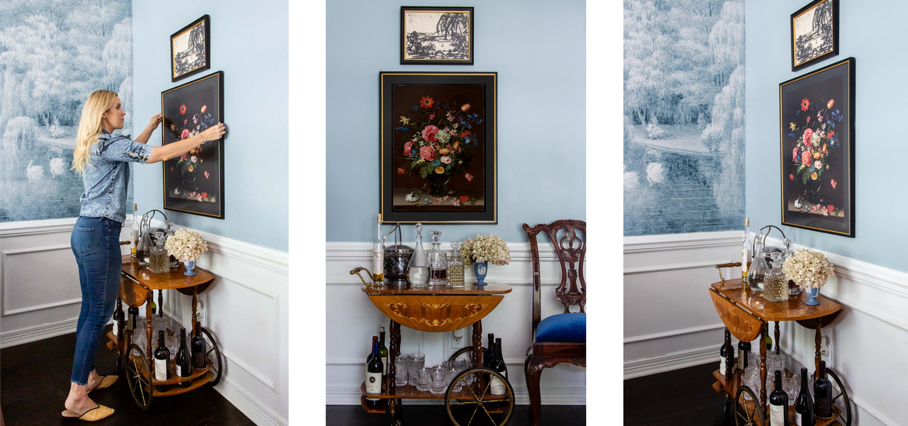 Gallery Wall Over a Bar Cart Picture Framing