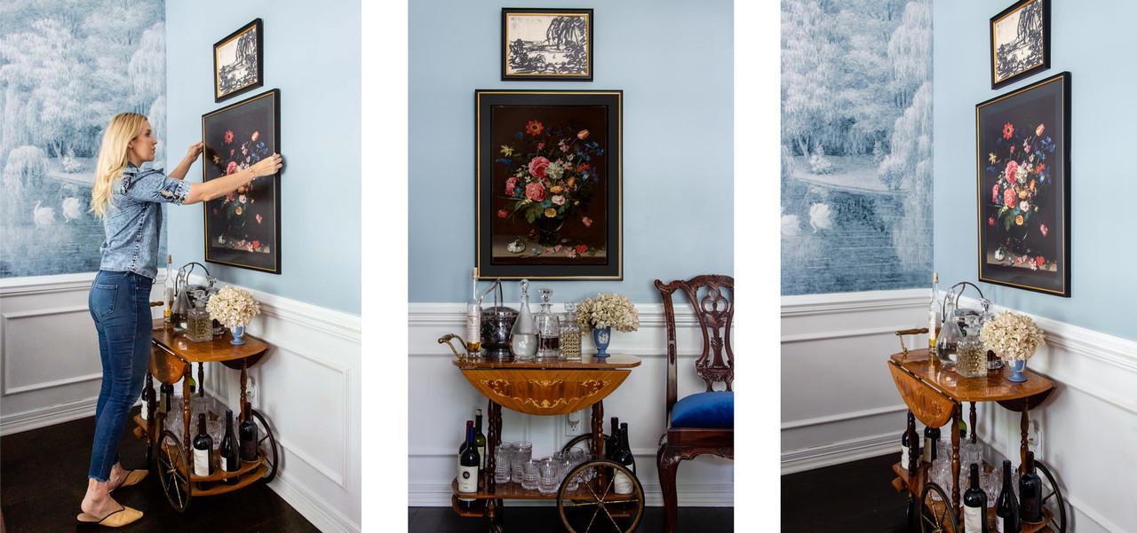 Online framing gallery wall over bar cart